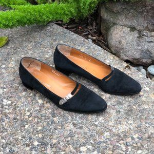 Ralph Lauren Black Suede Silver Tone Buckle Shoes